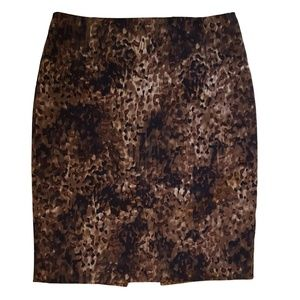 Elie Tahari Silk Brown Print Skirt